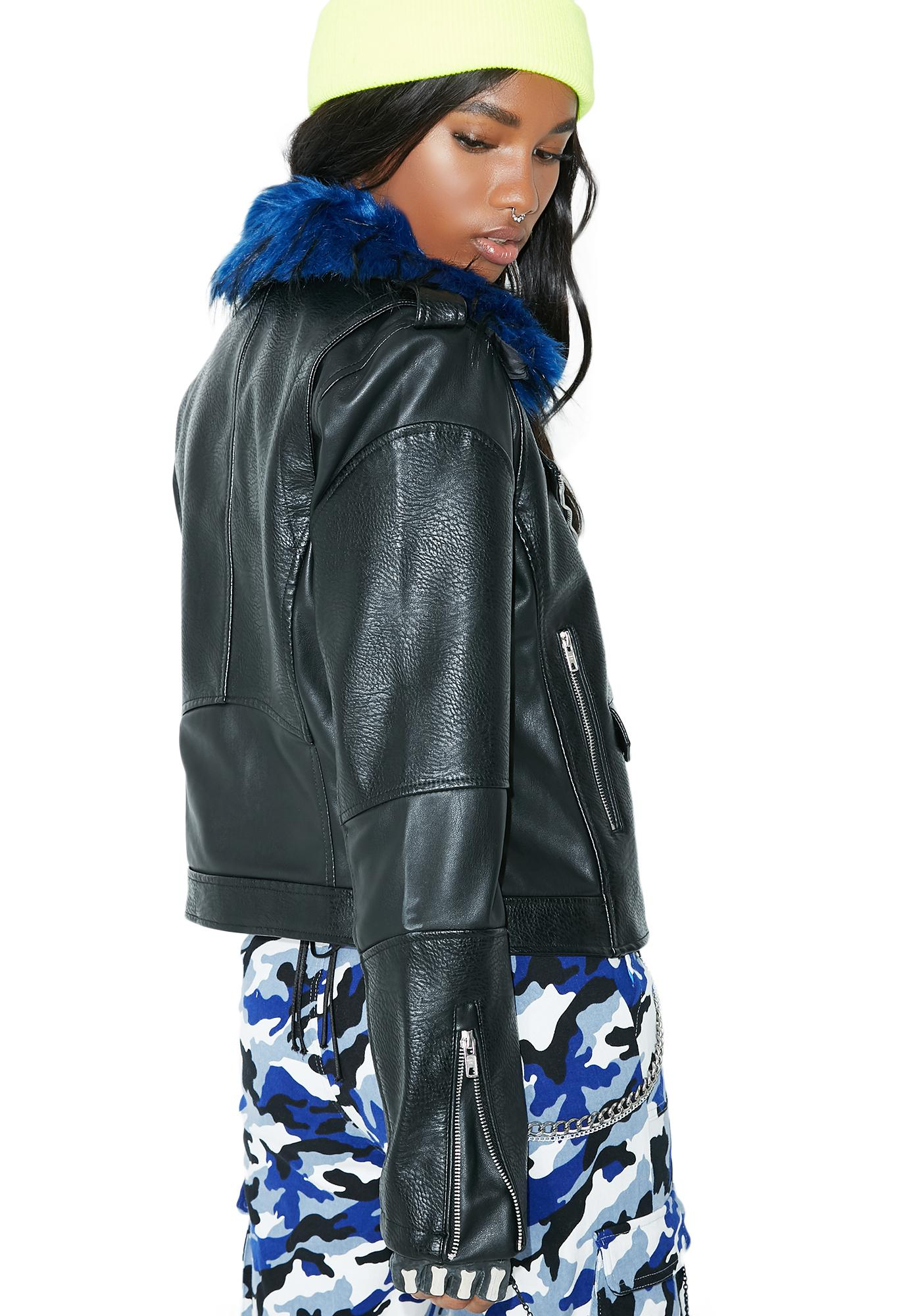 Members Only Blue Rocker Moto Jacket
