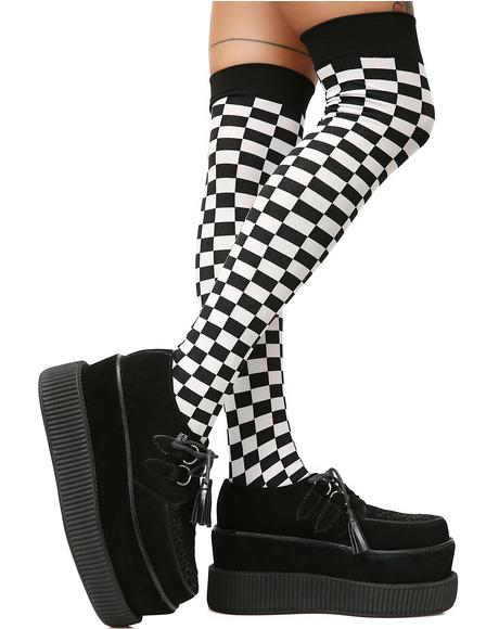 Goin' Crazy Checkered Thigh Highs
