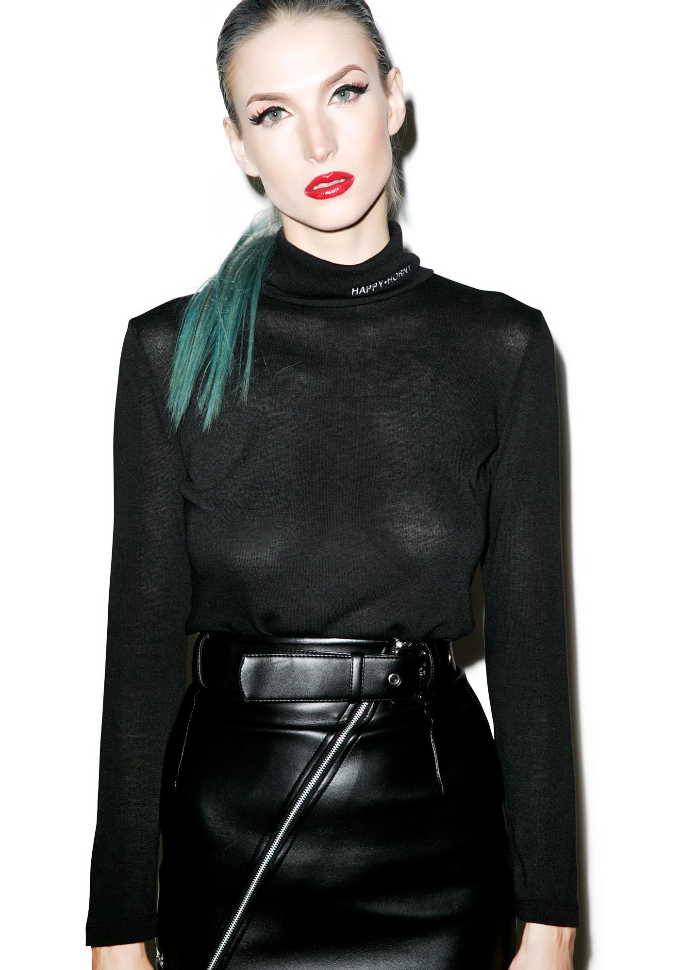 Danielle Guizio Happy and Horny Embroidered Turtleneck
