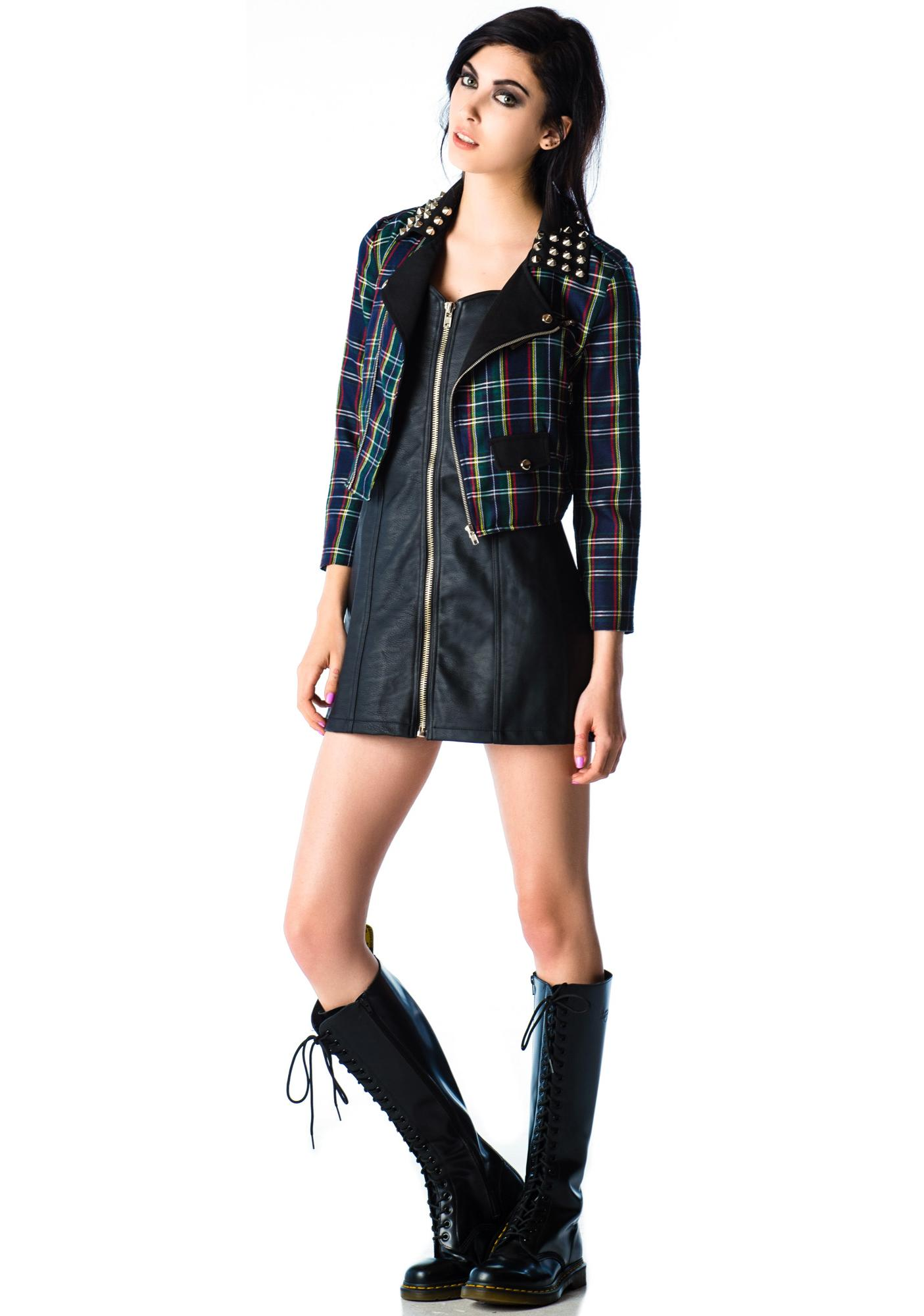 Lip Service Angst Plaid Studded Jacket