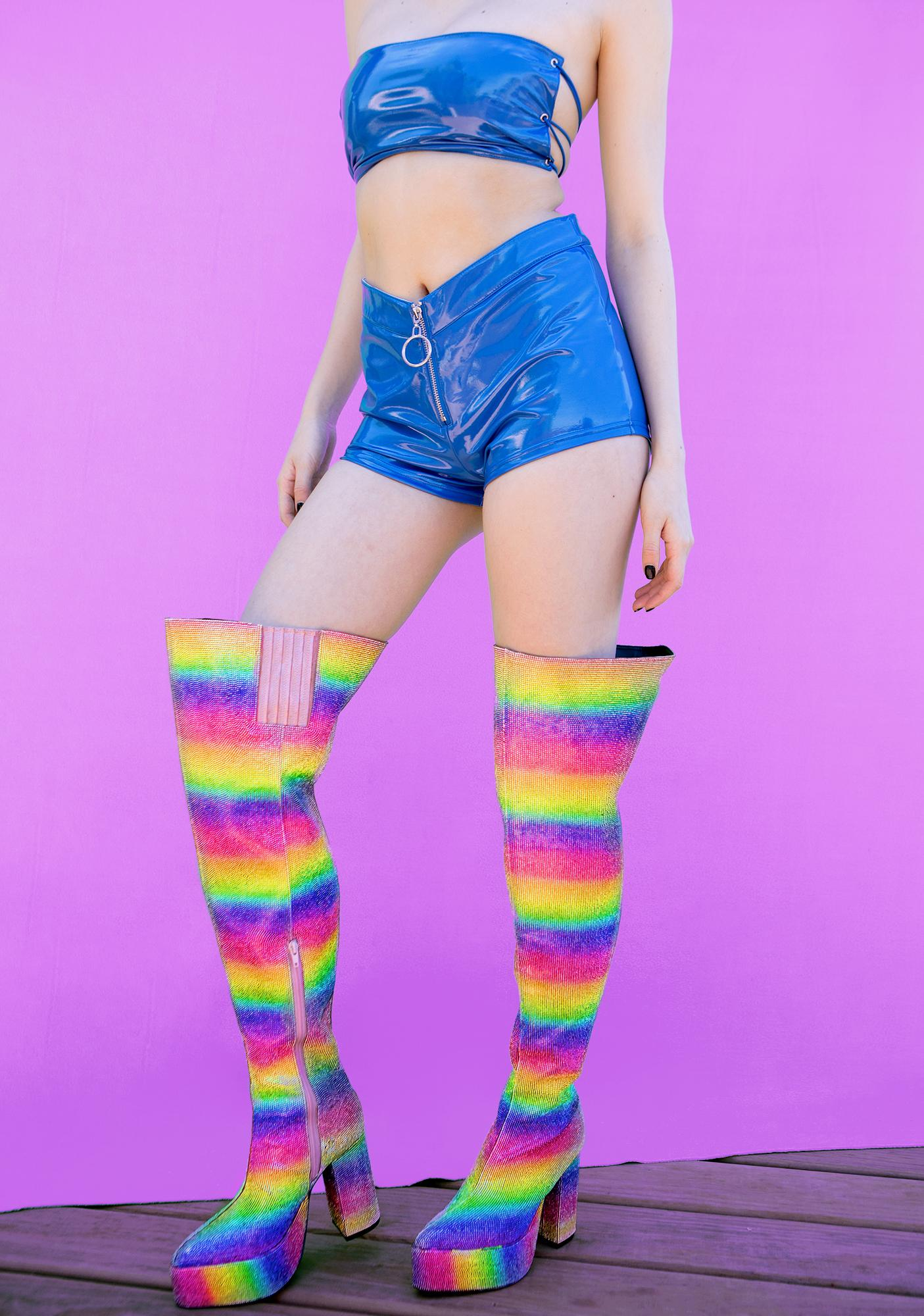 Club Exx Crystal Queer Thigh High Boots