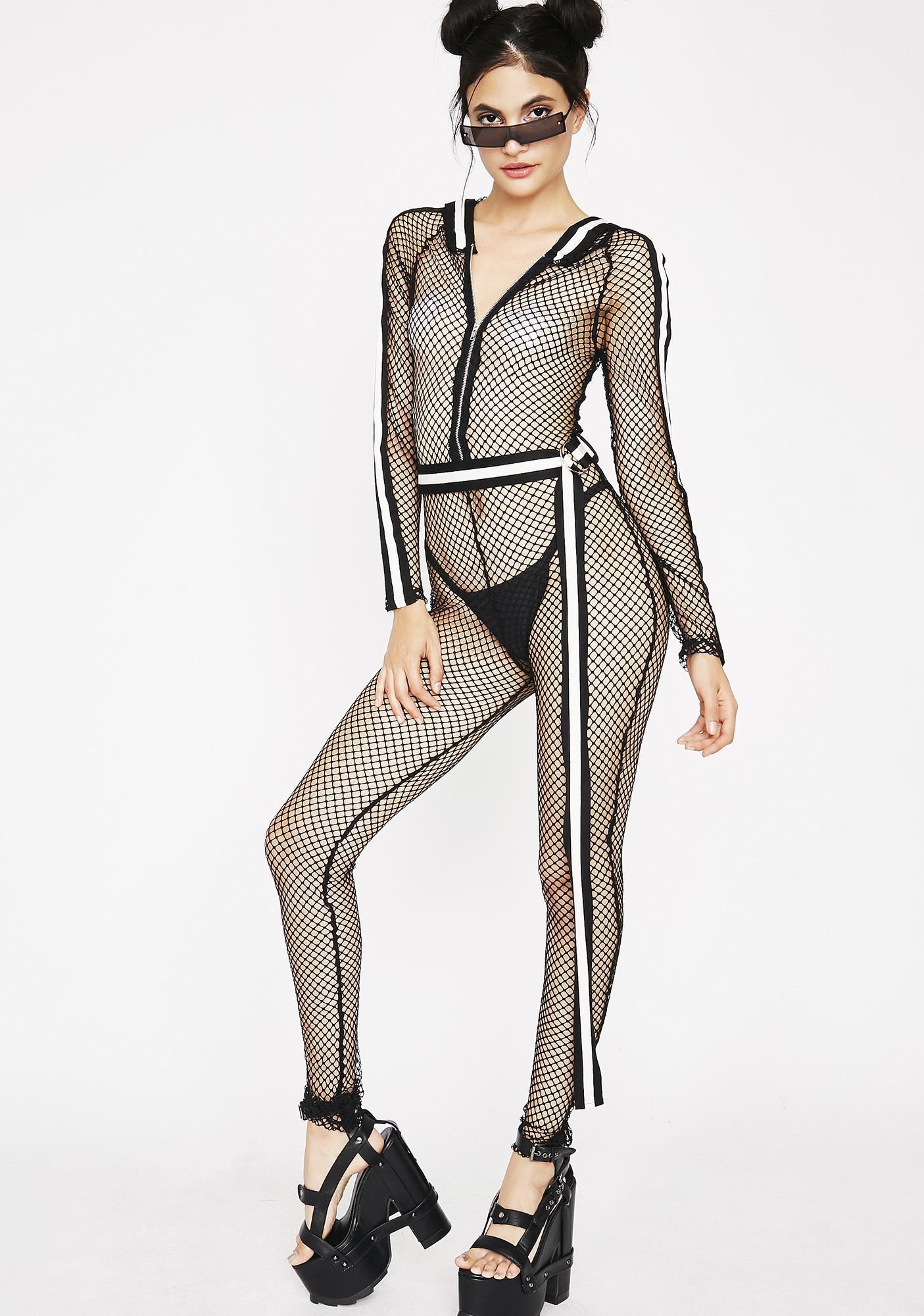 Ready To Rally Fishnet Catsuit