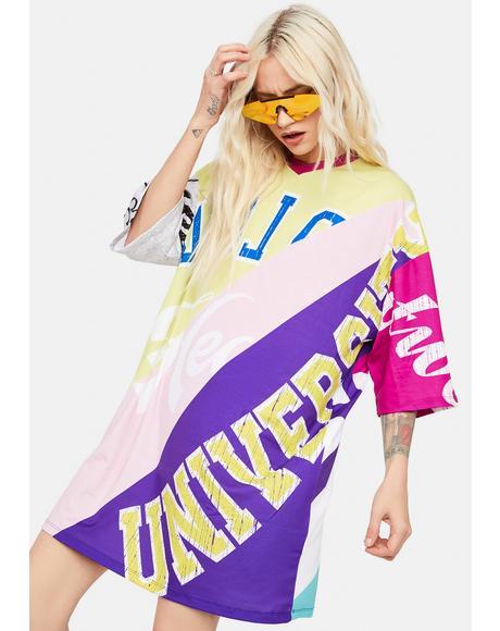 Spliced Mash Up Print Oversized T-Shirt Dress
