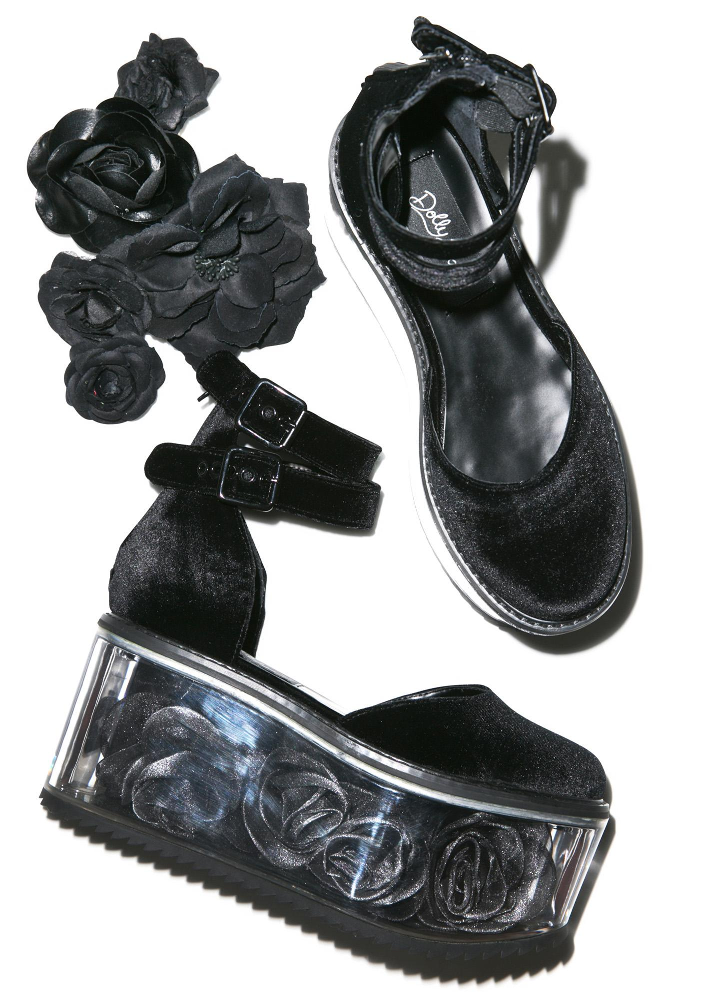 Dolly Bae Velvet Rose Platforms
