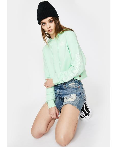 Mint Crop Hoodie Sweatshirt
