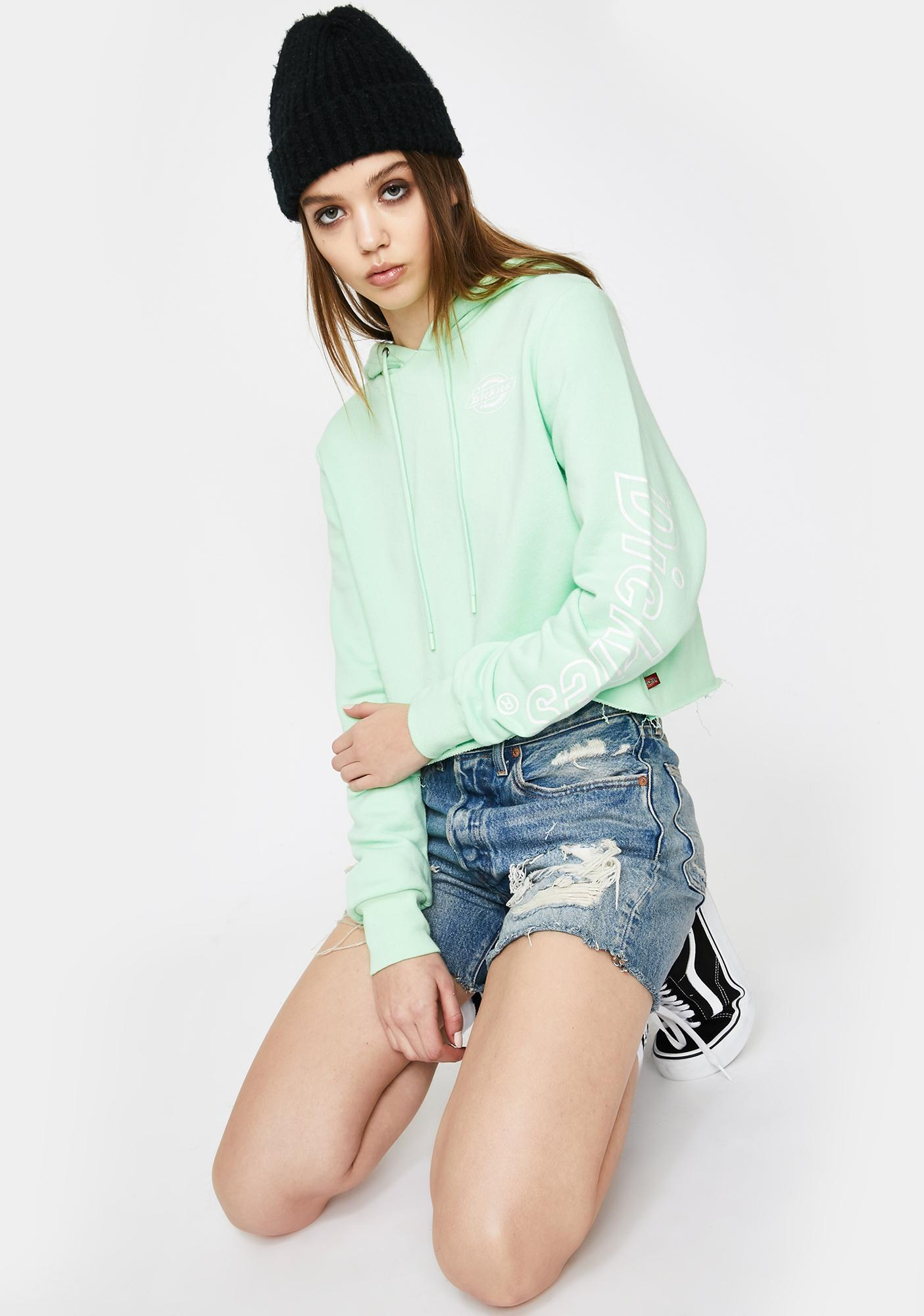 Dickies Girl Mint Crop Hoodie Sweatshirt