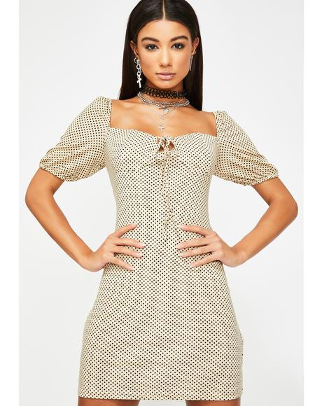 Beige Black Polka Dot Mini Dress
