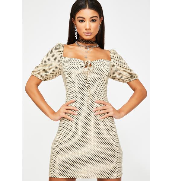 Glamorous Beige Black Polka Dot Mini Dress