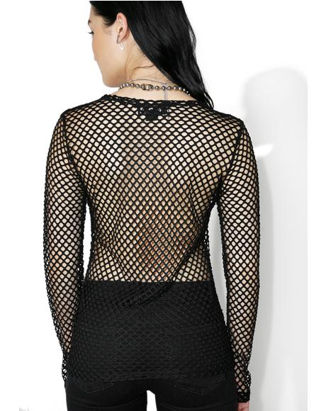 Mary Q Mesh Long Sleeve Top