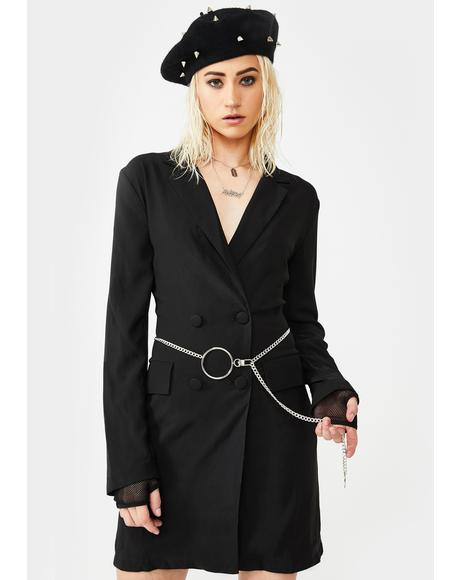 O-Ring Chain Belt Blazer Dress