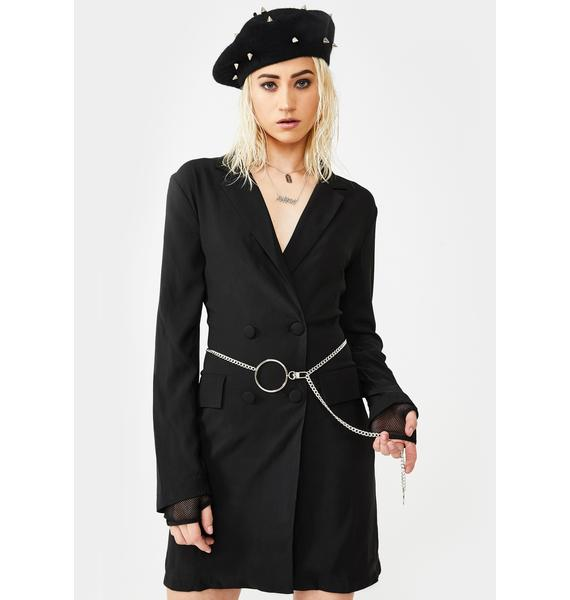 Glamorous O-Ring Chain Belt Blazer Dress