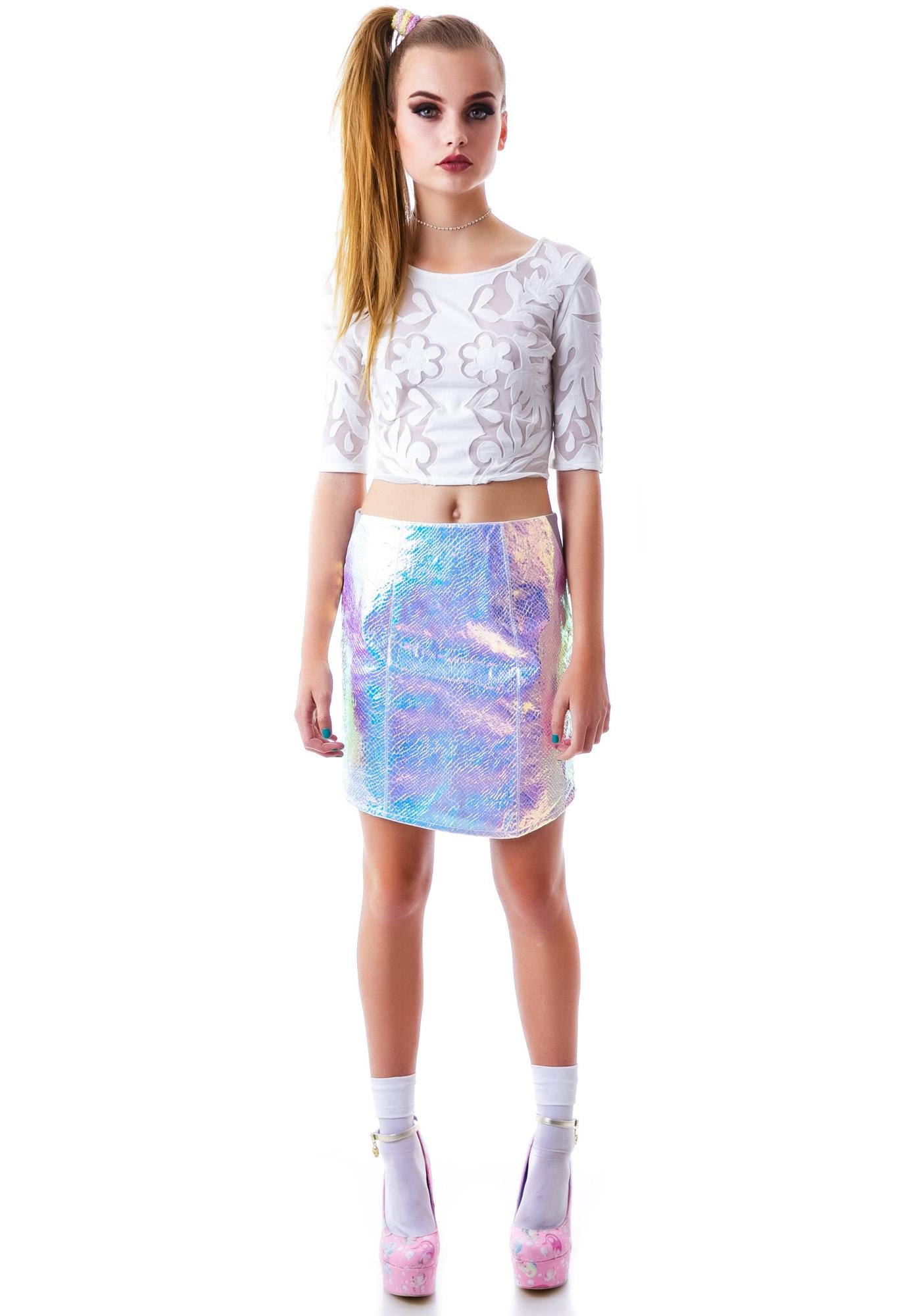 Fresh Flowers Mesh Insert  Crop Top