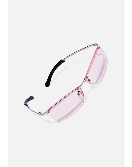 Pink Ness Frameless Sunglasses