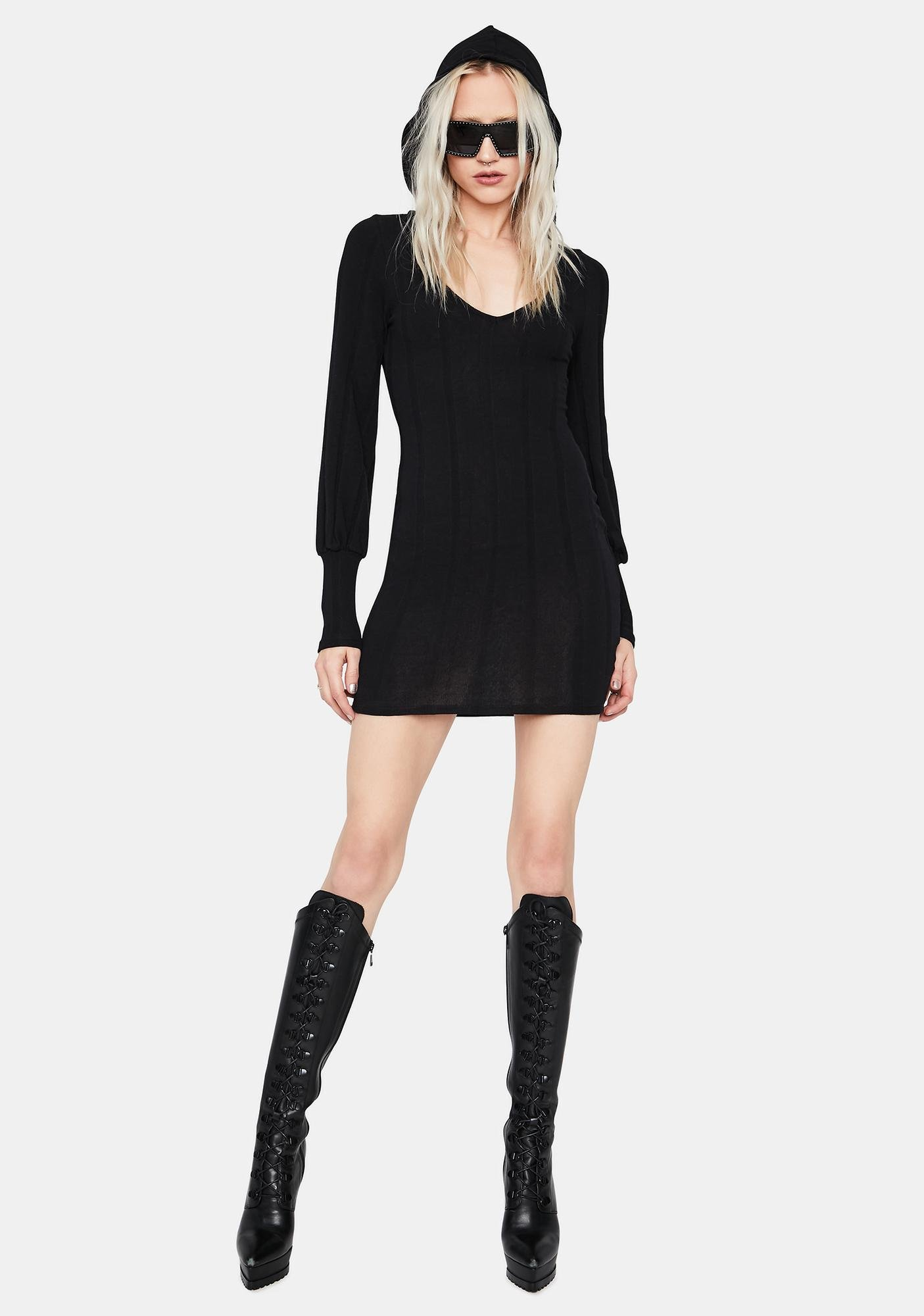 Dark Horse Hooded Mini Dress