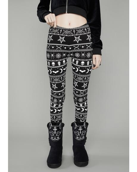 Festive Fear Graphic Leggings