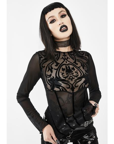 Filigree Mesh Long Sleeve Top