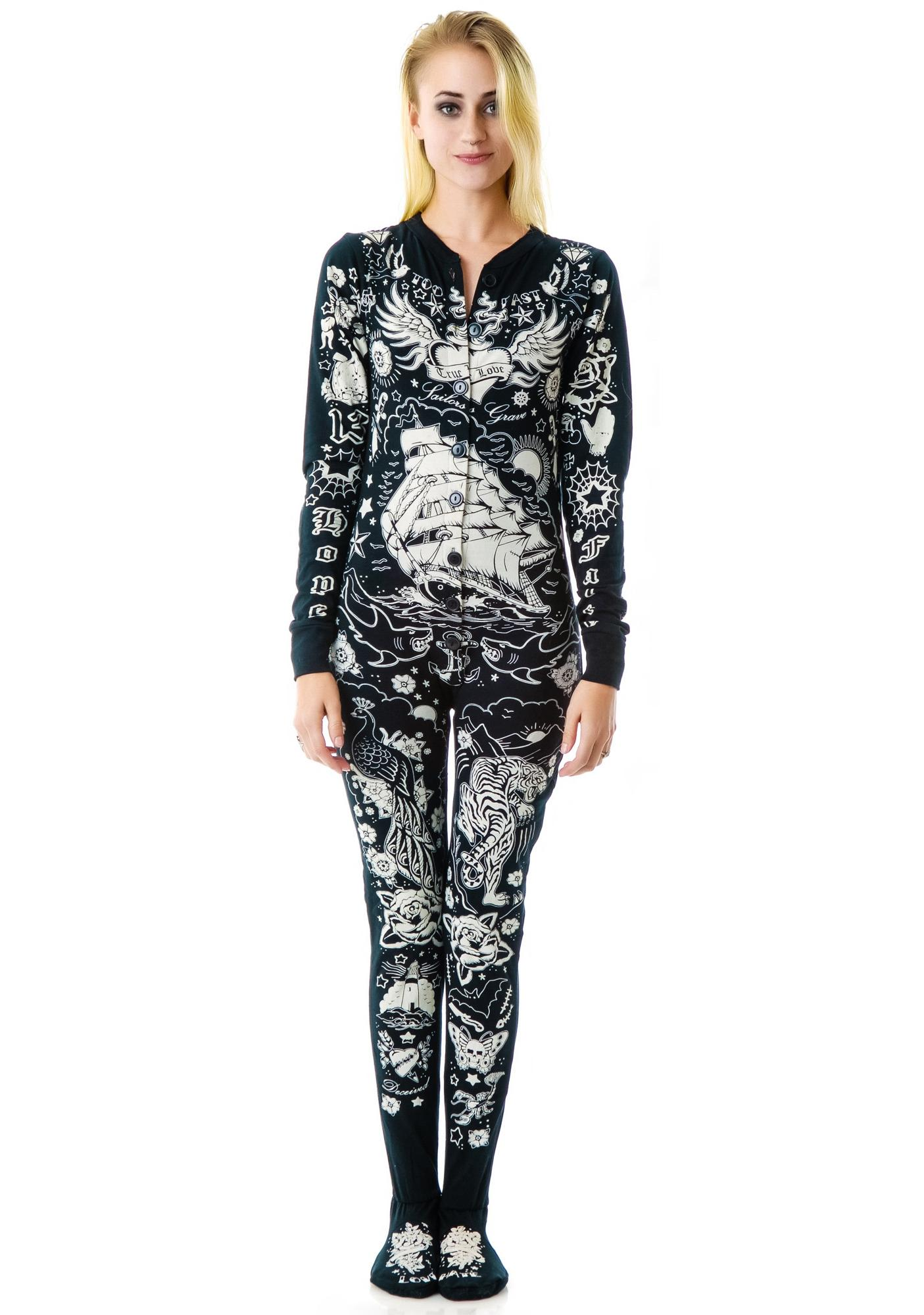 Too Fast Tattooed Skelly Footed Pajamas