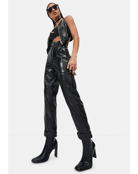 Baddie In Charge Vegan Leather Cargo Pants