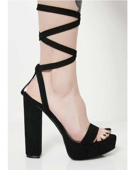 Don't Quit It Lace-Up Heels