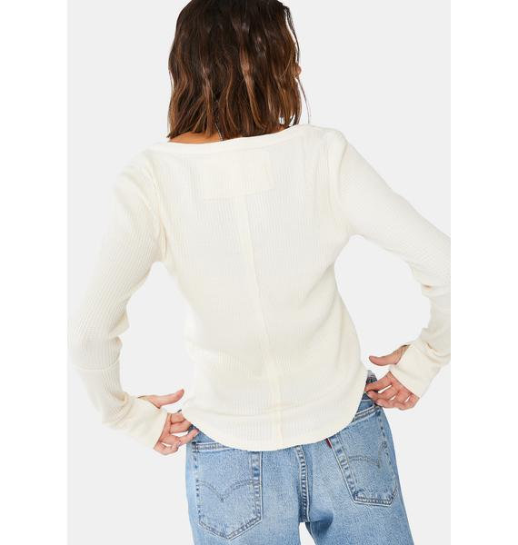Free People White Everest Solid Henley Top