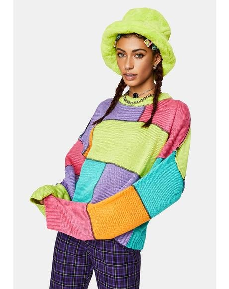 Dunce Colorblock Knit Sweater