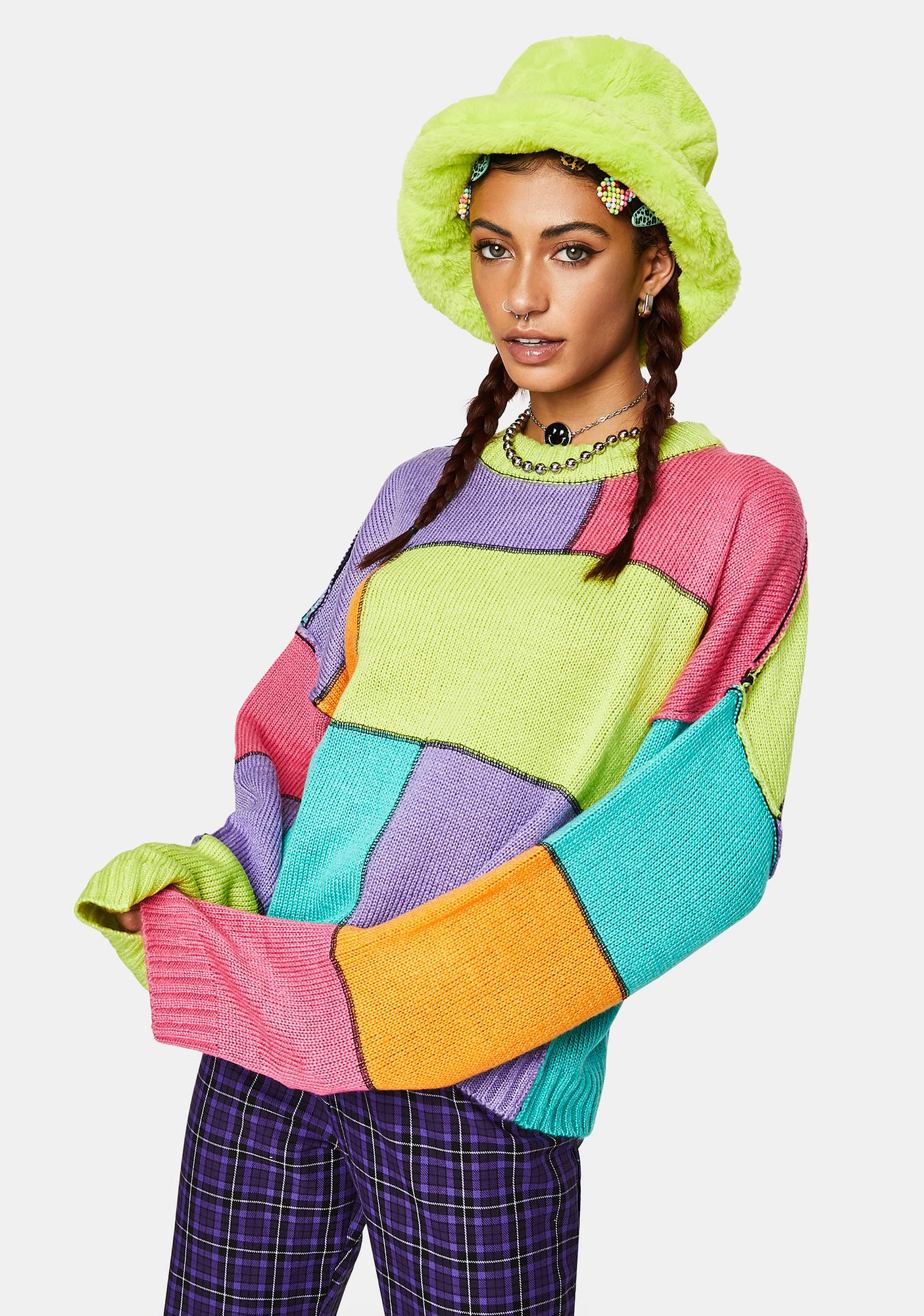 The Ragged Priest Dunce Colorblock Knit Sweater