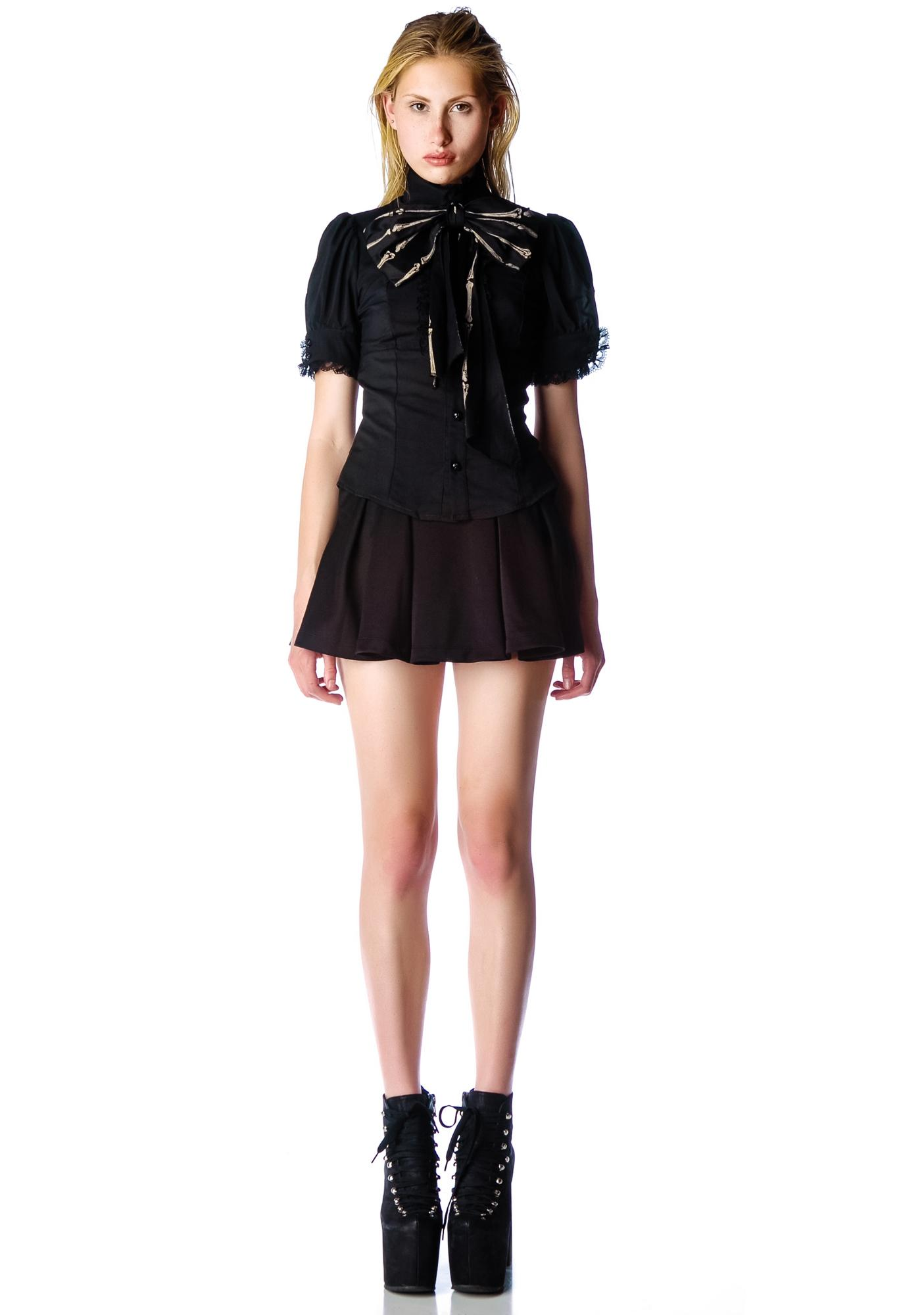 Lip Service Bones Bow Blouse