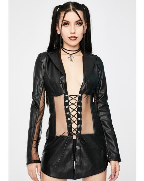 Vegan Leather Corset Blazer