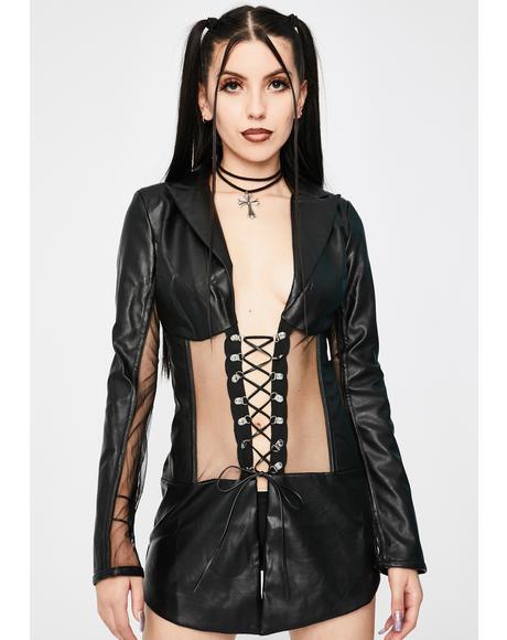 Vegan Leather Corset Blazer