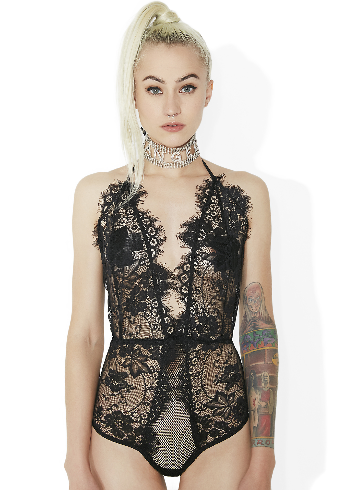 Scalloped Sheer Lace Halter Teddy Black