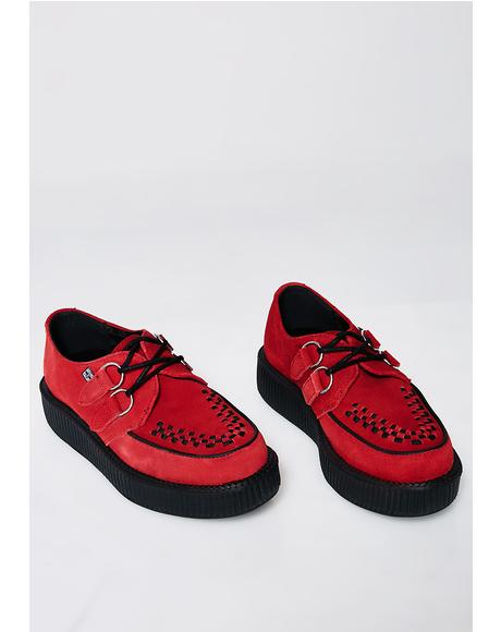 Red Suede Viva Low Creeper
