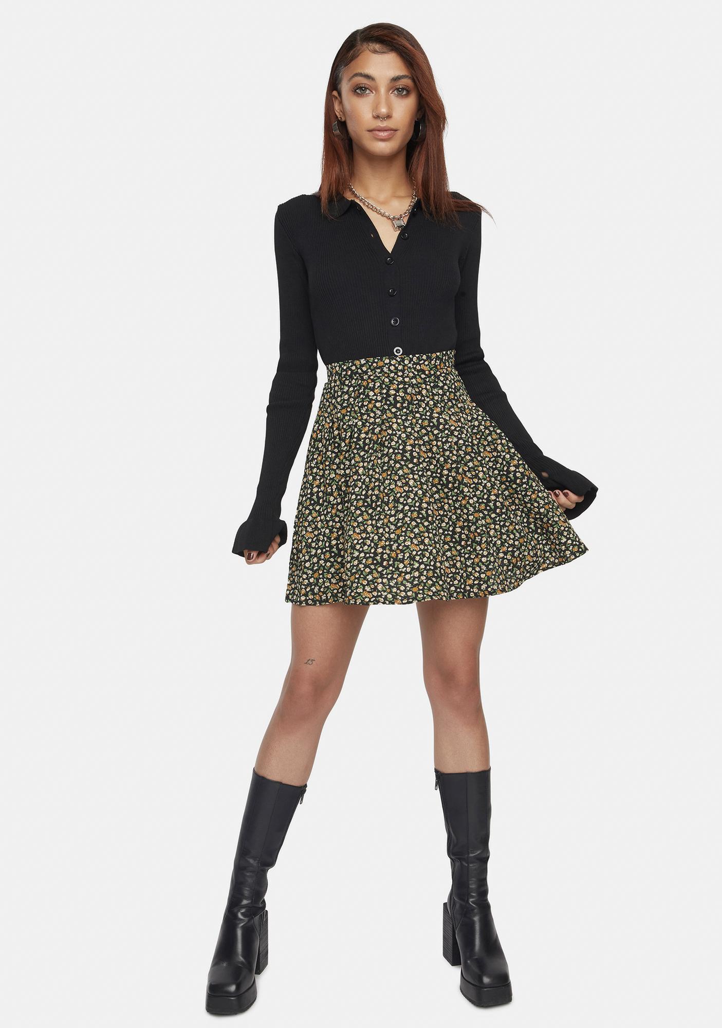 Daisy Street Emily Floral Pleated Skirt