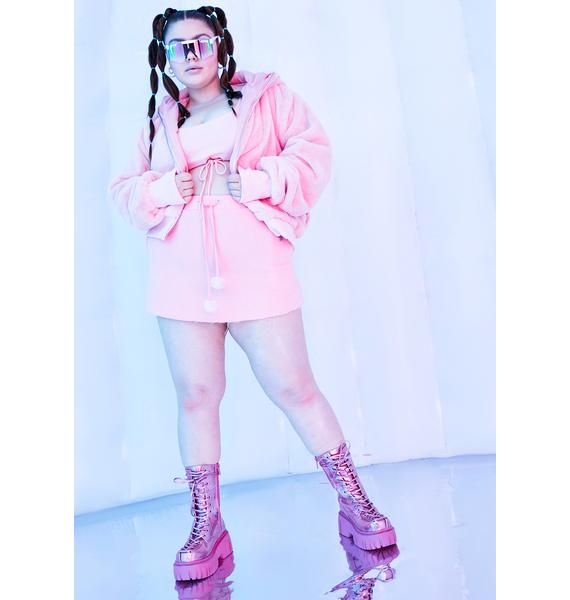 Club Exx Blush True Nightcall Faux Fur Bomber Jacket