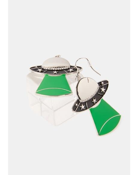 Cleared For Takeoff UFO Earrings