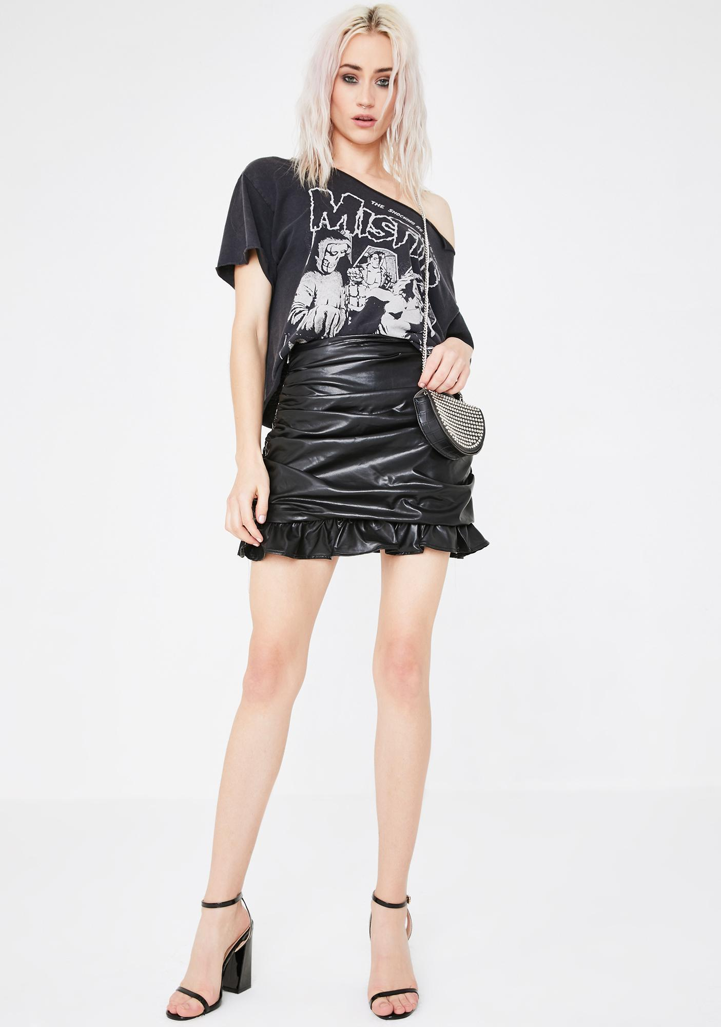 Runaway the Label Paige Vegan Leather Frill Skirt