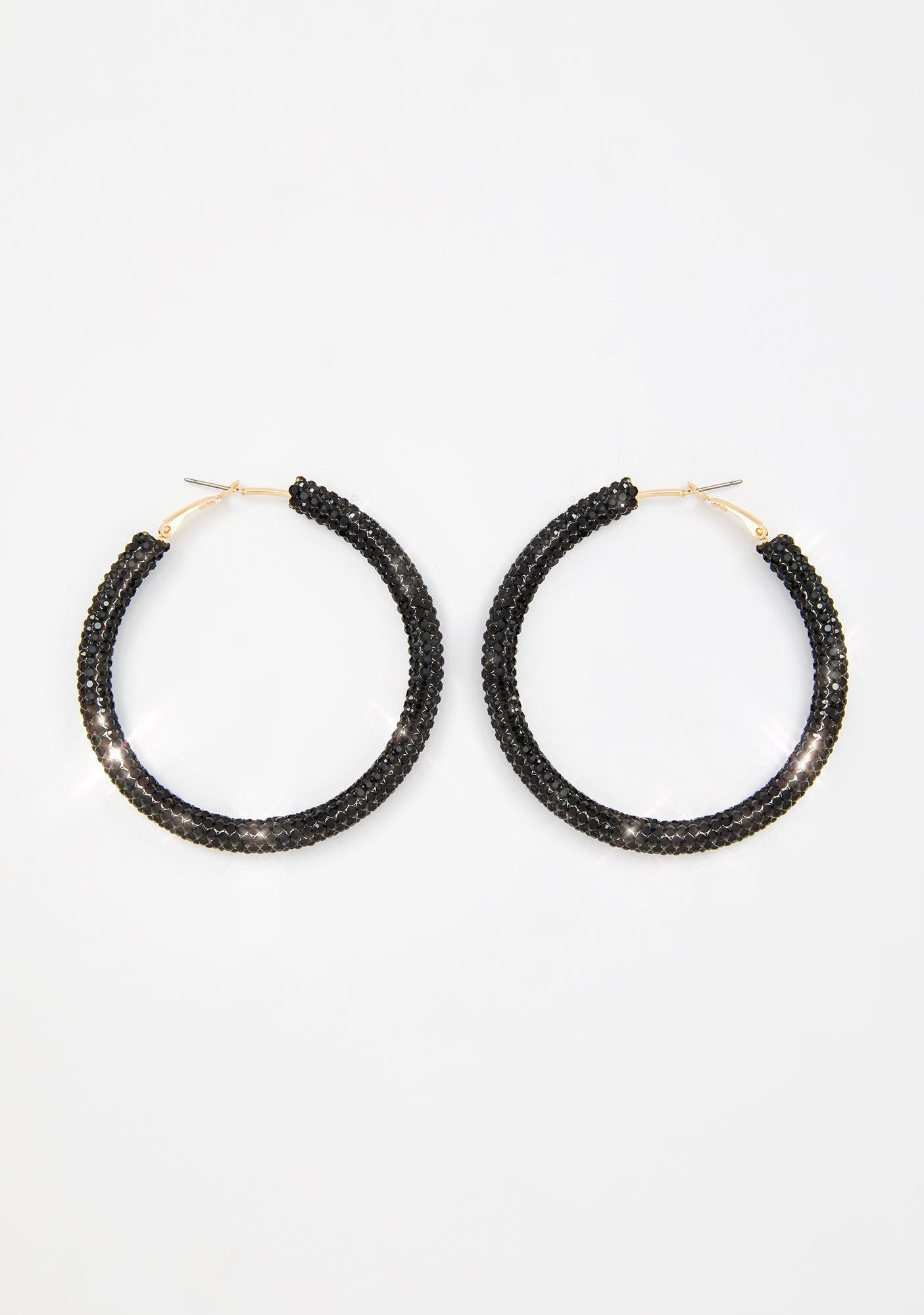 Clout Chaser Rhinestone Hoop Earrings