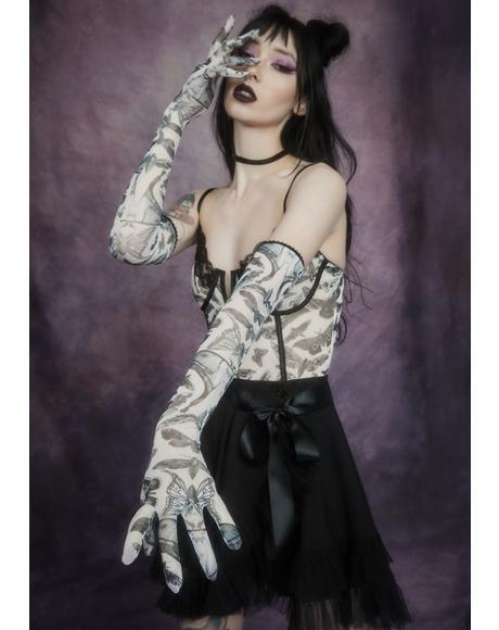 Spirit World Moth Print Mesh Gloves