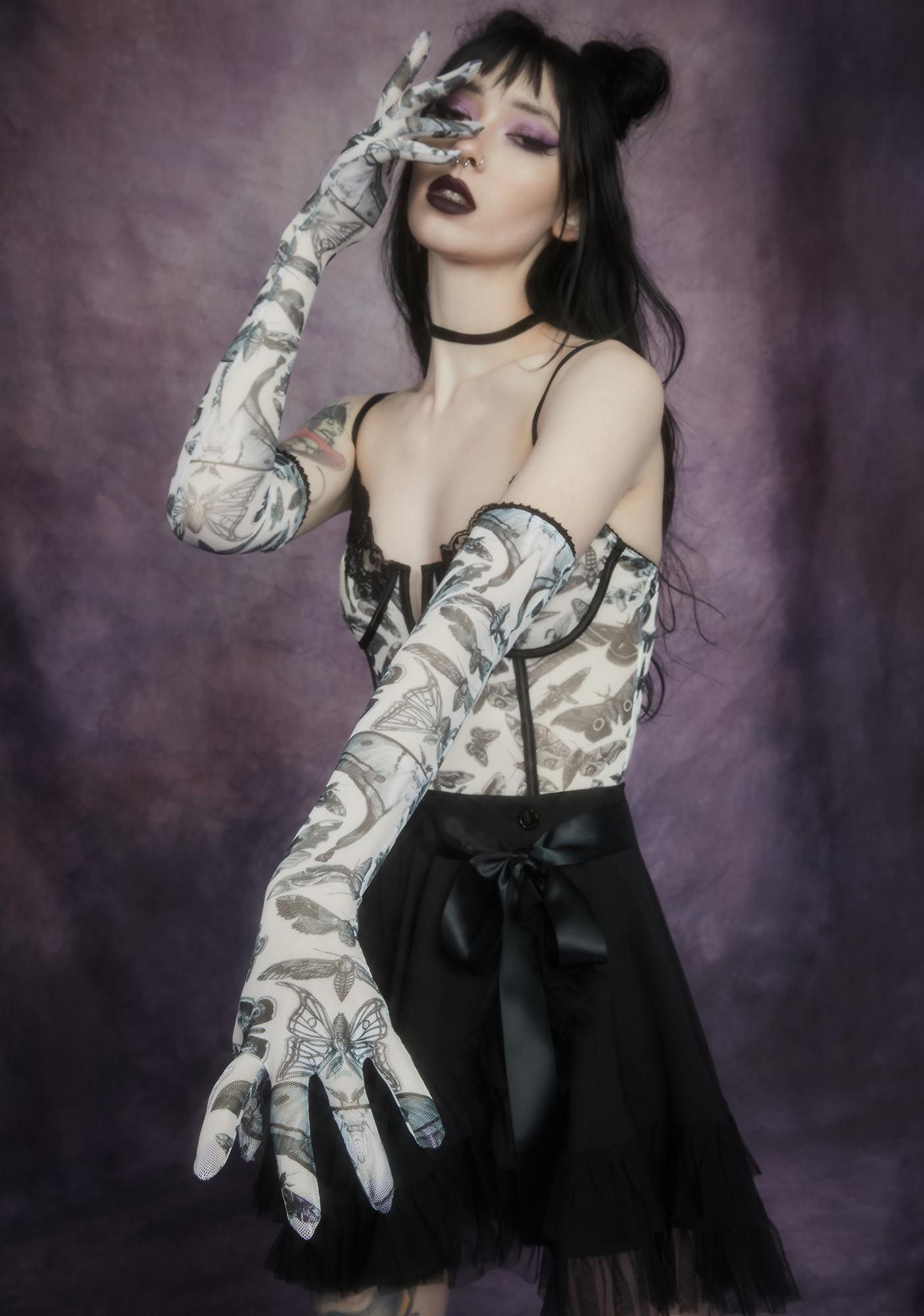 Widow Spirit World Moth Print Mesh Gloves