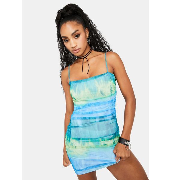 Deep Fire Water Mini Dress