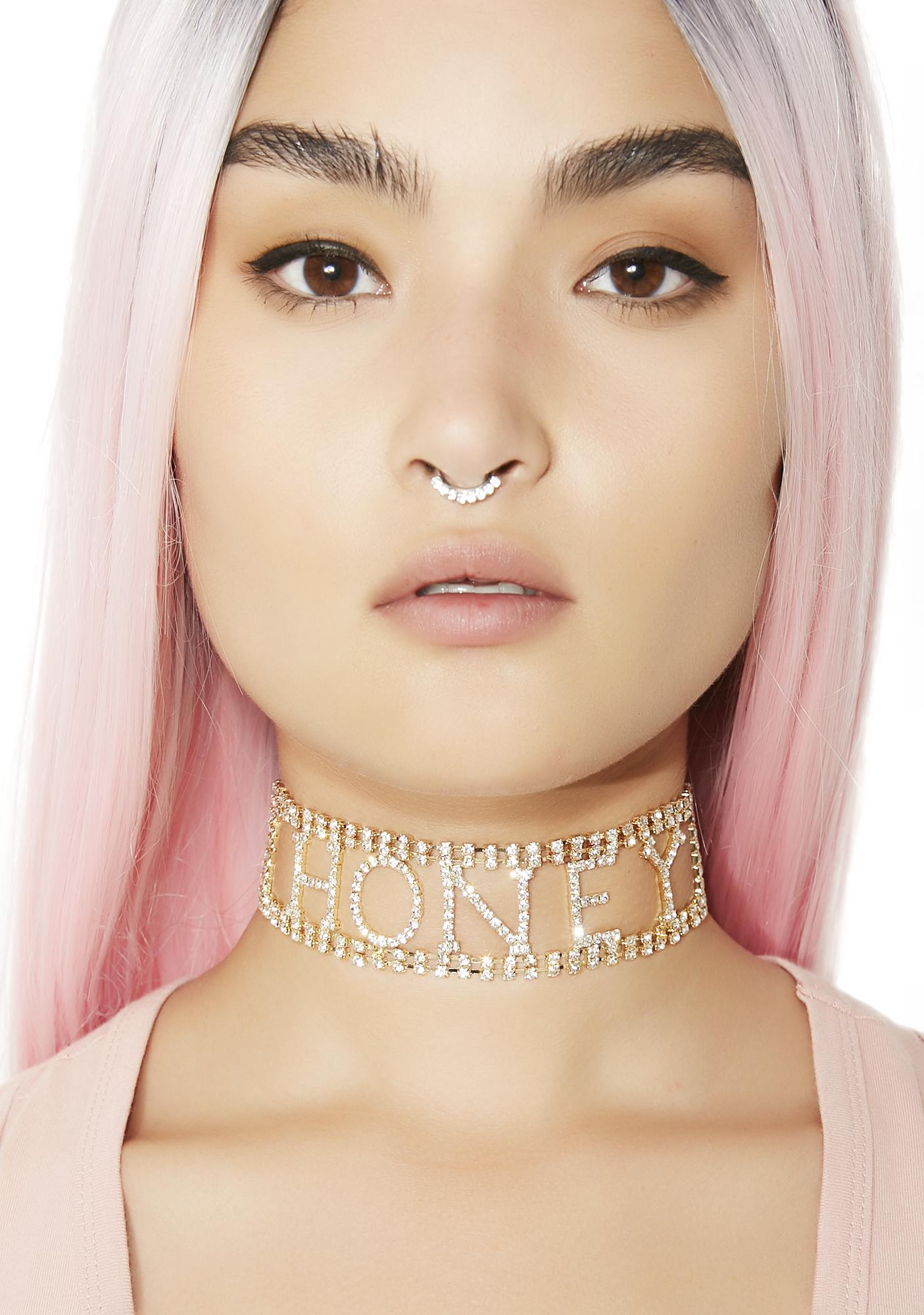 Honey Rhinestone Choker