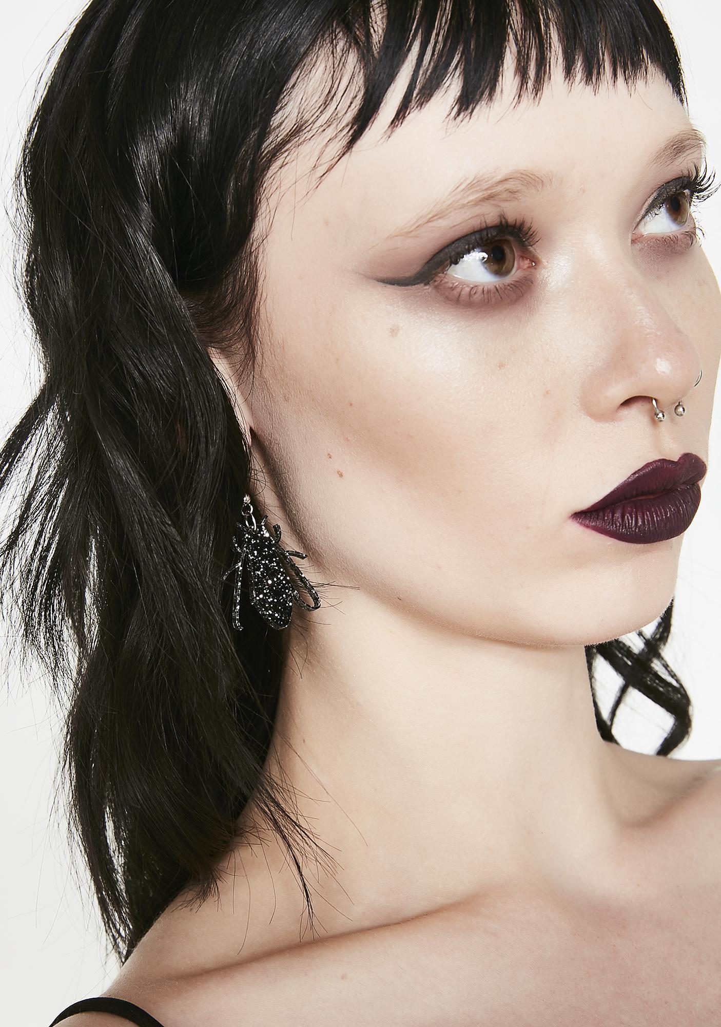 No Basic Bombshell Black Fly Glitter Earrings