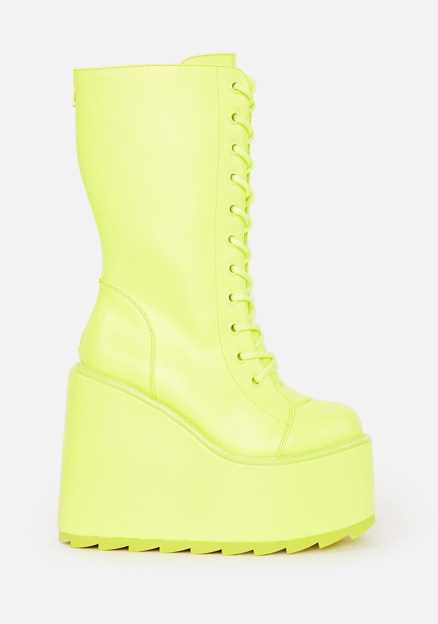 Y.R.U. Neon Yellow Dune Lace Up Boots