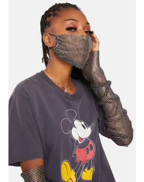 Dazzle On Point Fingerless Tall Gloves & Mask