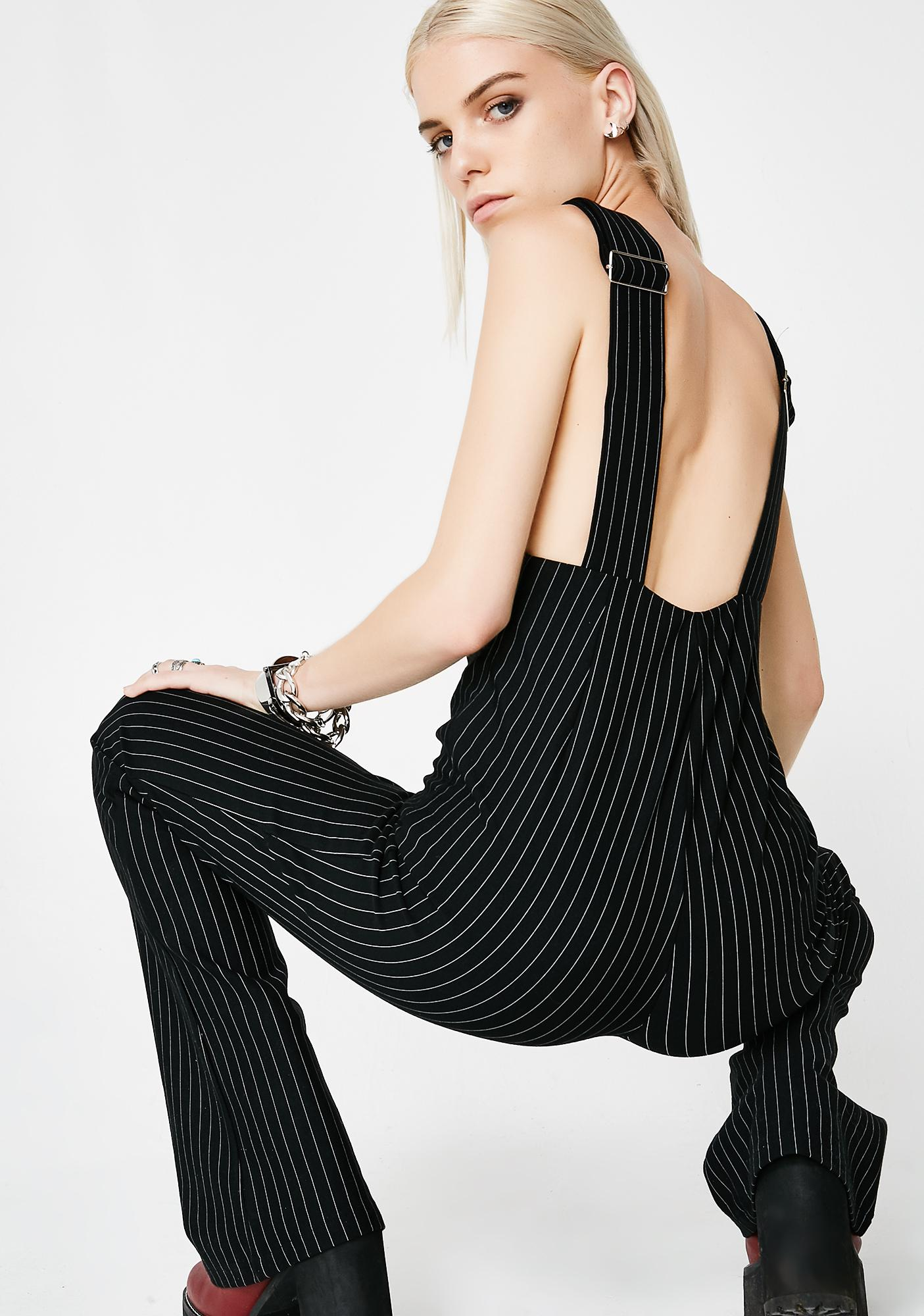 You Don't Know Me Pinstripe Overalls