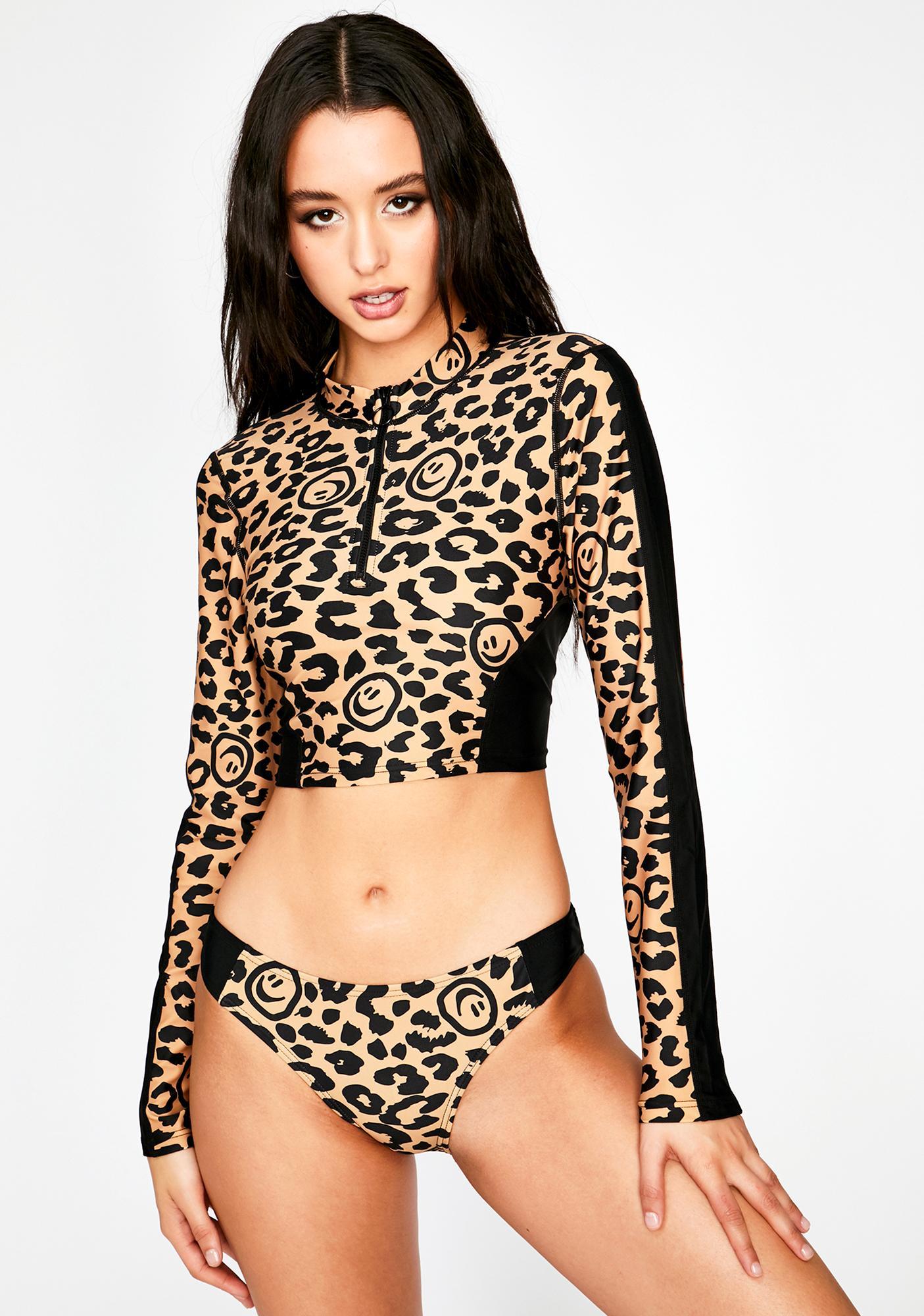 Lazy Oaf Leopard Rash Guard Bikini Top