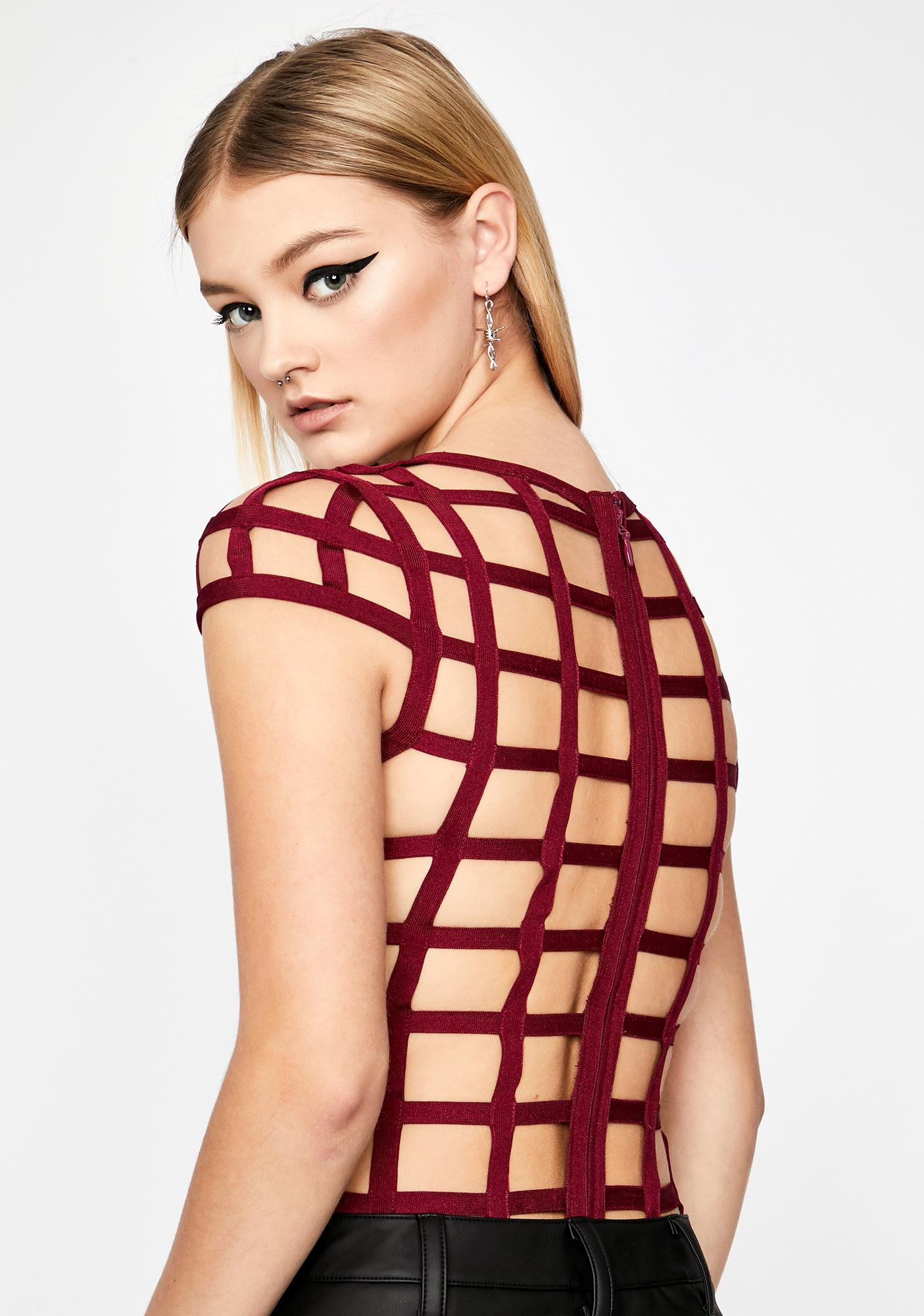 Wine Above The Law Caged Bodysuit