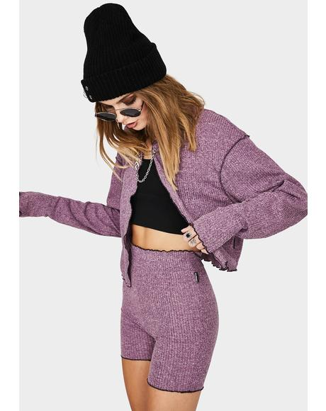Purple Knit Biker Shorts