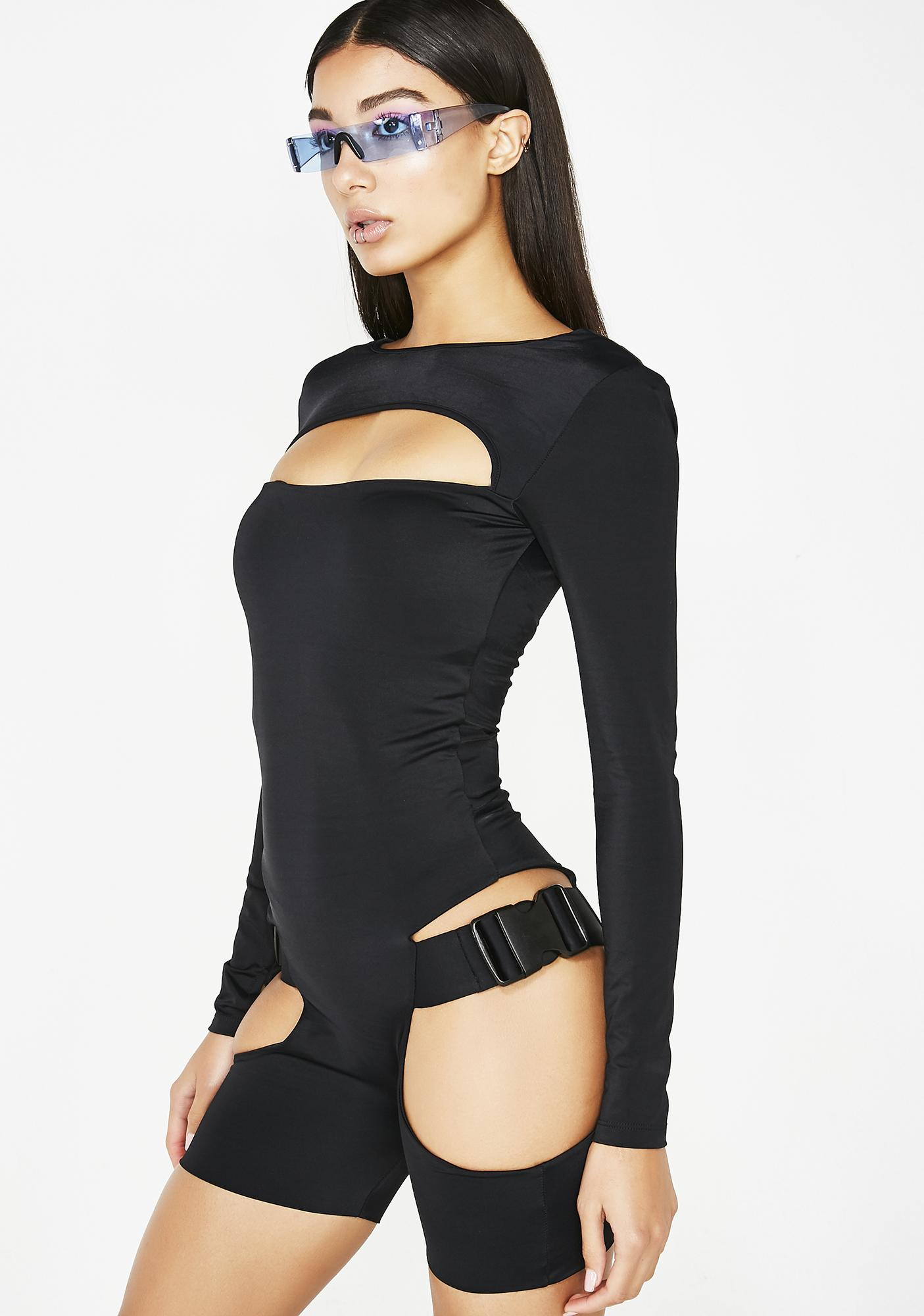 Lipt The Label Long Sleeve Buckle Unitard