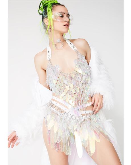 Illuminated Iridescent Tail Feather Skirt