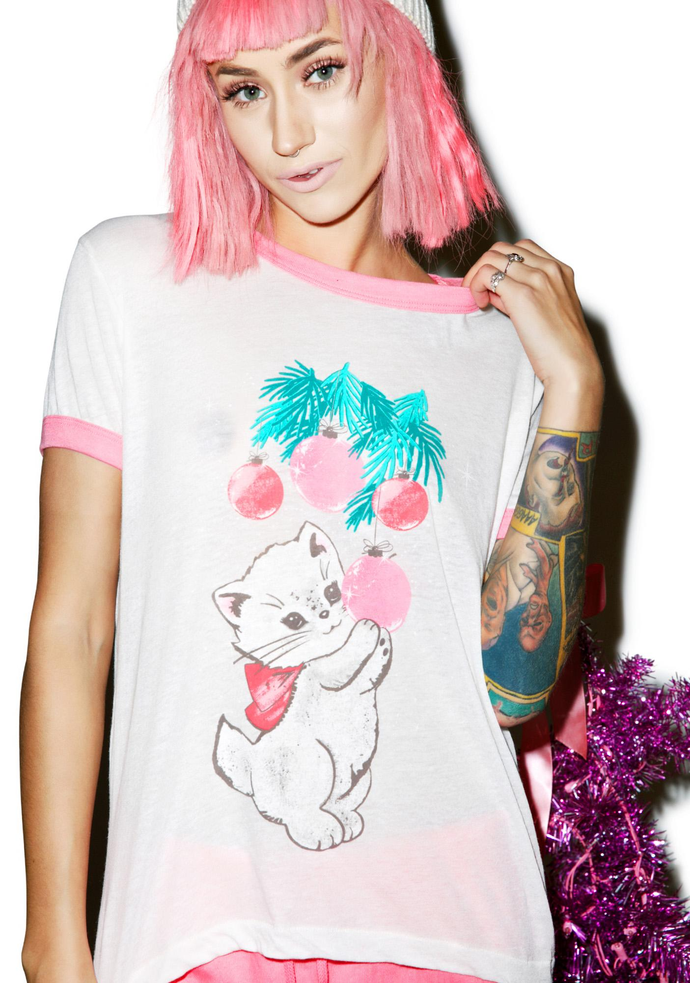 Wildfox Couture Christmas Kitty Vintage Ringer Tee